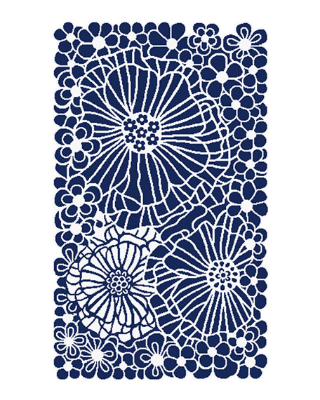 MacKenzie-Childs Blueberries and Cream Floral Rug, 2.25' x 3.75'