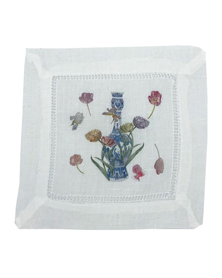 Nicolette Mayer Royal Delft Cocktail Napkins, Set of 4