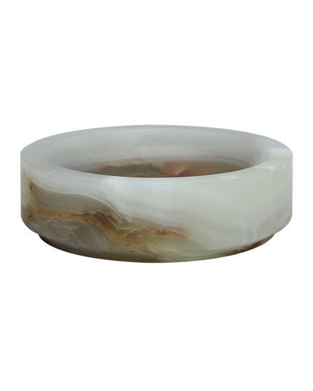 Marble Crafter Eris Collection Light Green Onyx Round Soap Dish