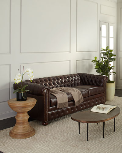 Chesterfield Leather Sleeper Sofa, 84