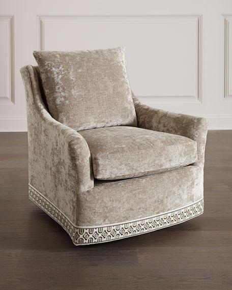 Massoud Catahoula Crushed Velvet Swivel Chair