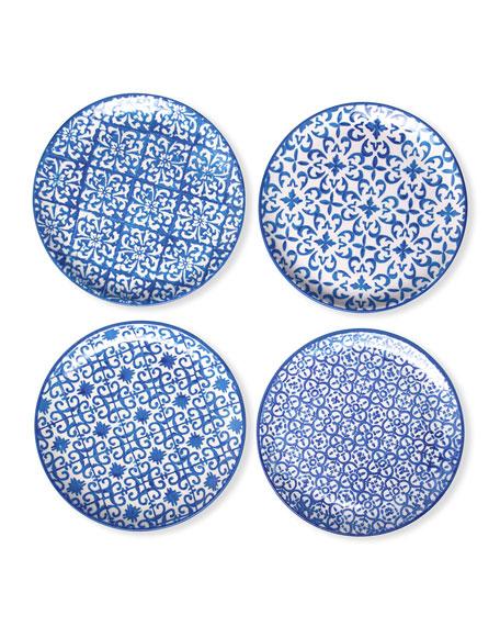 Blue Pheasant Ojai Blue Mixed Pattern Salad/Dessert Plates, Set of 4