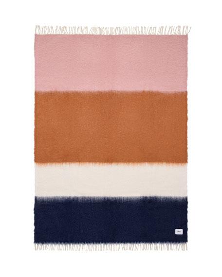 VISO Colorblock Fringe Mohair-Wool Throw
