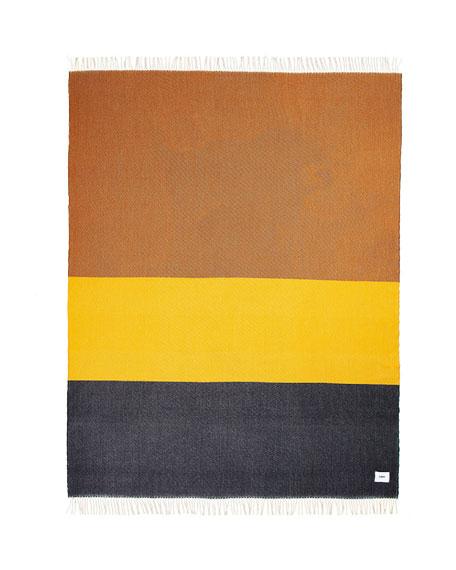 VISO Colorblock Fringe Merino Wool Throw