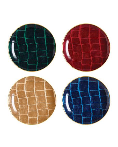 Prouna Alligator Multicolor Canape Plates, Set of 4