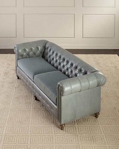 Sabine Leather Chesterfield Sofa, 93