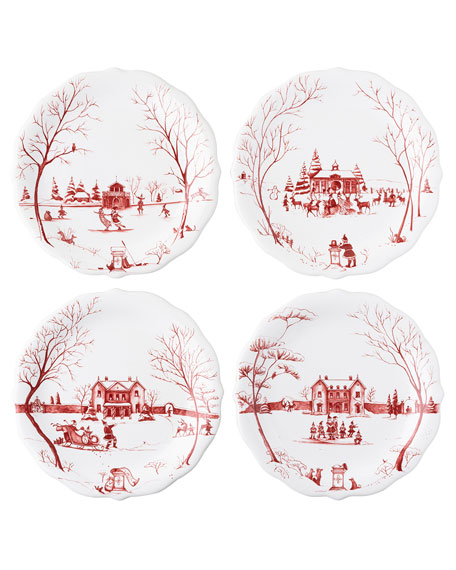 Juliska Country Estate Winter Frolic Salad Plates, Set of 4