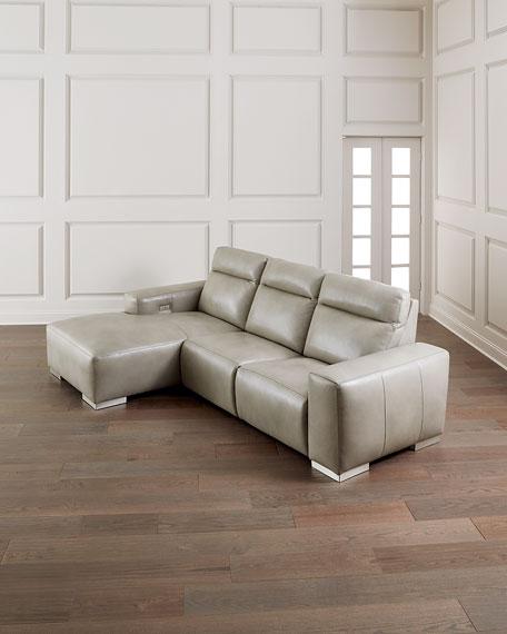 Bernhardt Elba Leather Power-Motion Sofa Chaise