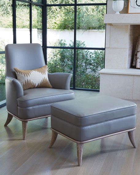Emporium Home for William D Scott Jackie Gray/Chesterfield Leather Ottoman