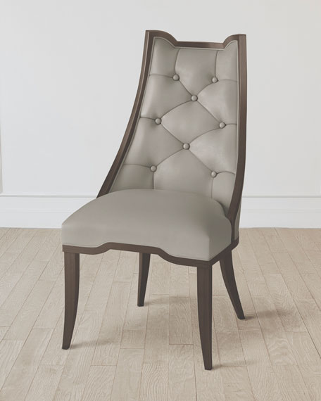 Emporium Home for William D Scott Logan Walnut/Chesterfield Gray Leather Dining Chair