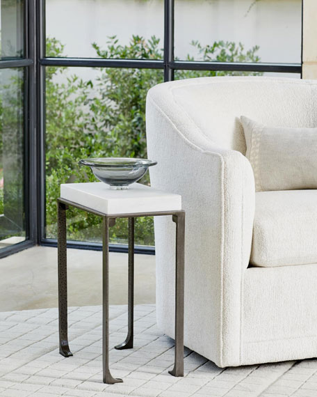 William D Scott Small Zen Side Table with White Honed Marble Top