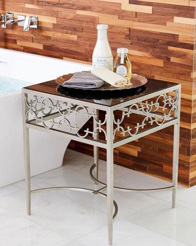 C-Fret Silver Side Table