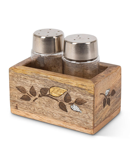G G Collection Glass Salt and Pepper Shakers with Mango Wood Laser Metal Inlay Leaf Base