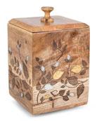G G Collection Mango Wood Laser Metal Inlay
