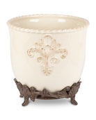 G G Collection Stoneware Ice Bucket with Metal