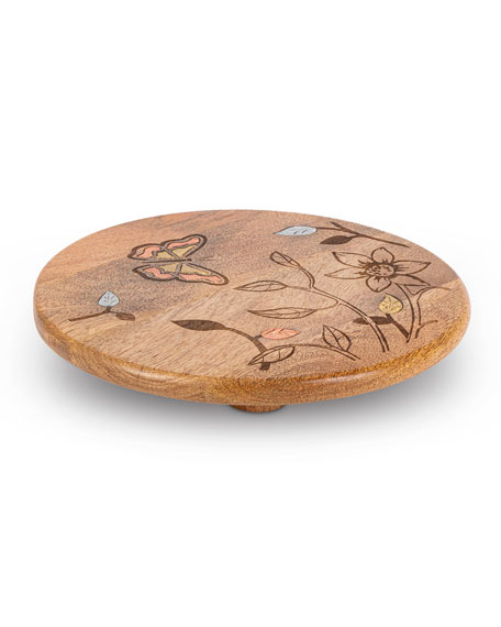 G G Collection Mango Wood Laser Butterfly Round Trivet