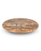 G G Collection Mango Wood Laser Butterfly Lazy