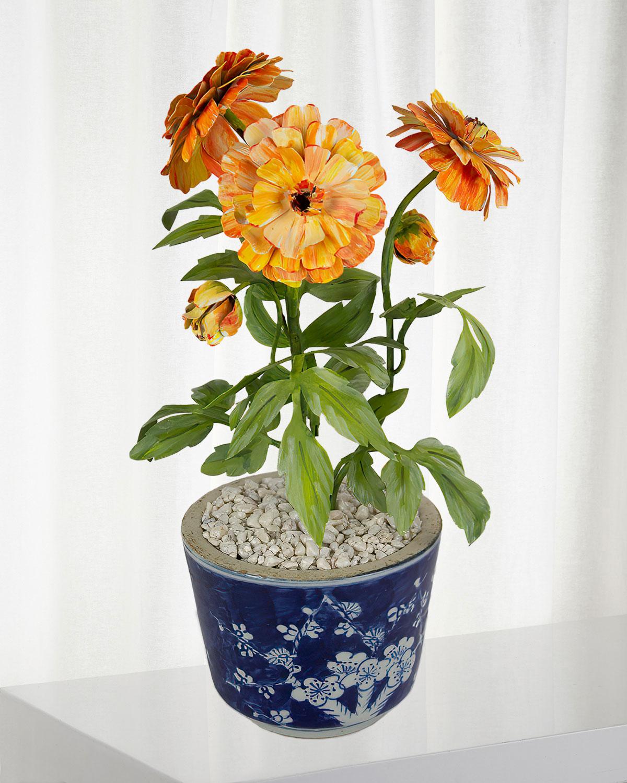 Sweet Pea April Birth Flower in White Terracotta Pot