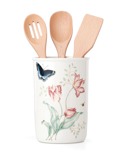 Utensil Jar with 3 Wood Utensils