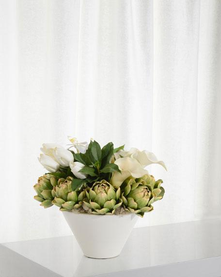 John-Richard Collection Artichokes and Orchids Floral Arrangement