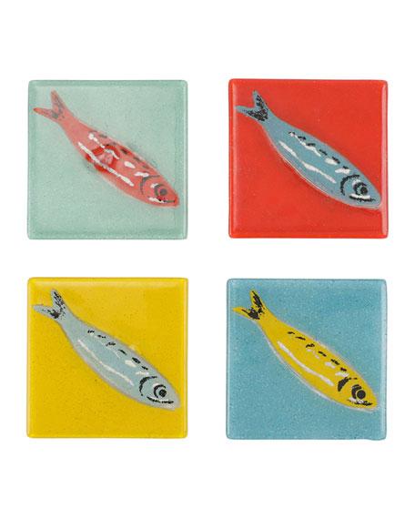 Vietri Pesci Colorati Assorted Fish Coasters, Set of 4