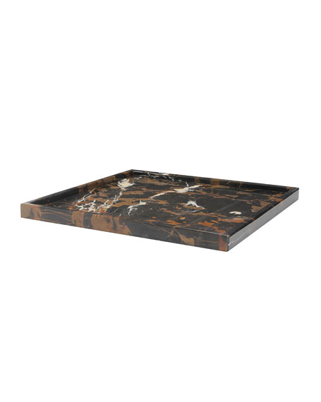 """Marble Crafter Ambrosia Collection 14"""" Honed Finish Marble Tray"""