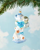 Glassware Art Studio Bear With Balloon Christmas Ornament