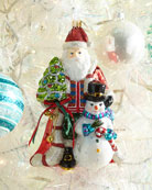 Glassware Art Studio John Huras Santa And Snowman