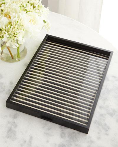 Striped Inlaid Wood Tray