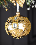 Silverado Shiny Gold Ball With Beads Christmas Ornament