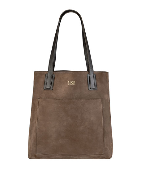 Graphic Image Metro Nubuck Leather Tote Bag, Personalized