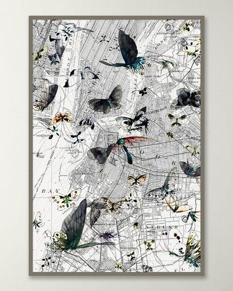 """New York Butterfly Map II"" Wall Art"