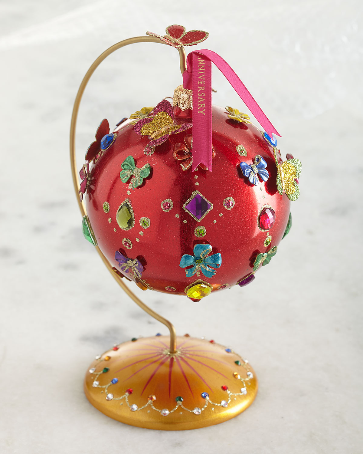 Jay Strongwater 25TH ANNIVERSARY JEWELED GLASS ORNAMENT WITH STAND