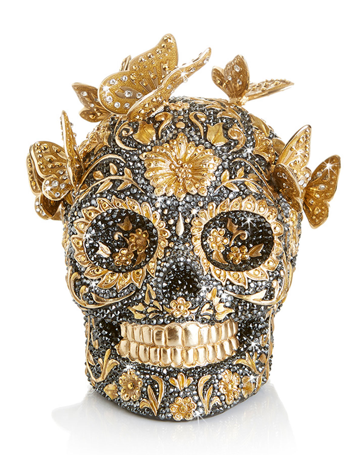 Jay Strongwater 25TH ANNIVERSARY PAVE SKULL WITH BUTTERFLIES FIGURINE