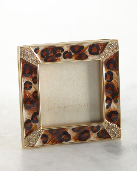 """Jay Strongwater Leland Leopard Spotted Pave Frame, 2"""""""