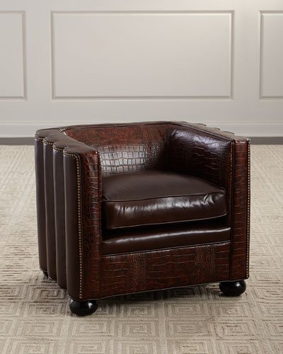 Boone Leather Barrel Chair