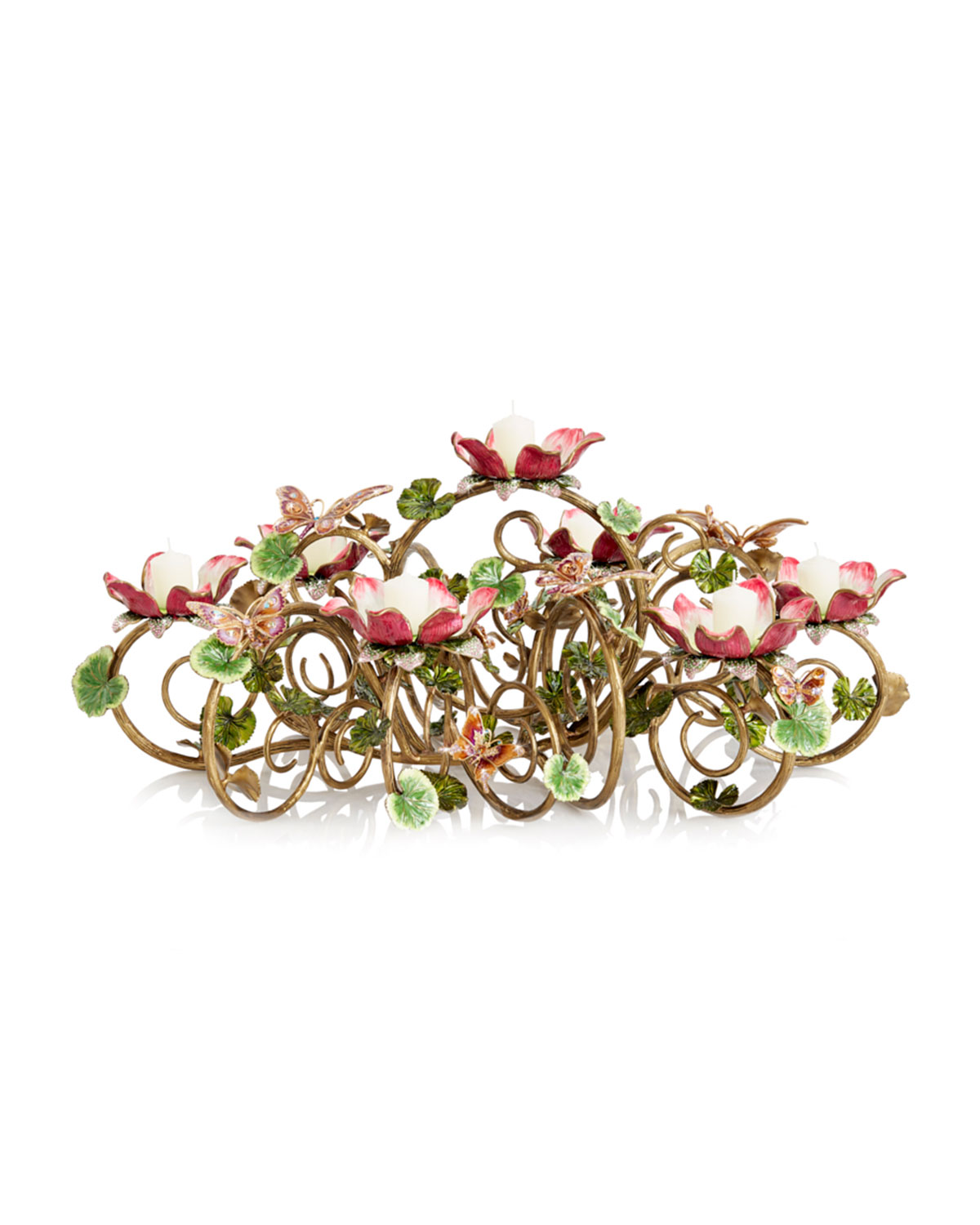 Jay Strongwater FLORAL & BUTTERFLY CANDELABRA