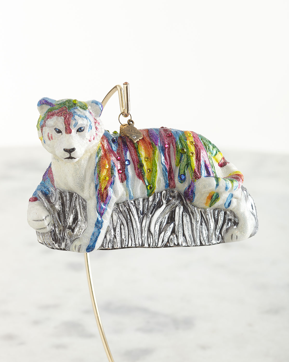 Jay Strongwater RAINBOW TIGER GLASS ORNAMENT