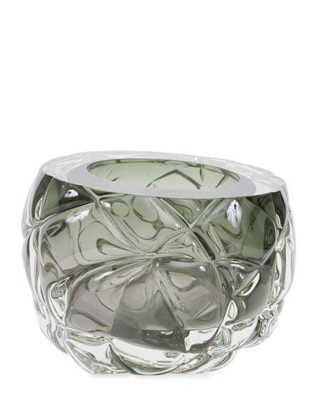 Feyz Studio Cut Hand-Blown Glass Tourmaline Green Vase - Large
