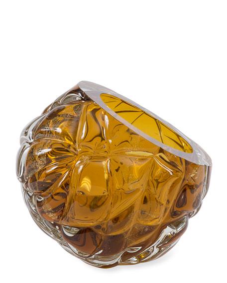 Feyz Studio Cut Hand-Blown Glass Amber Vase - Large