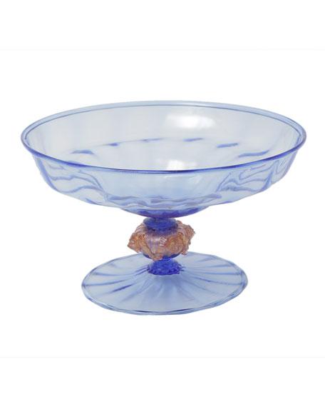 Devonia Antiques Venetian Glass Blown Blue Centerpiece Bowl