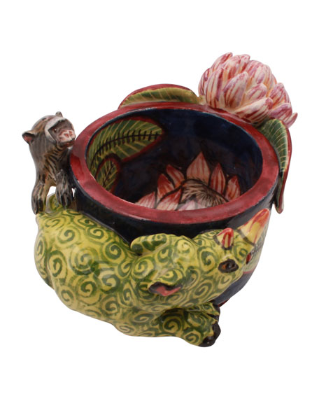 Ardmore Ceramic Art Rhino Monkey Egg Cup