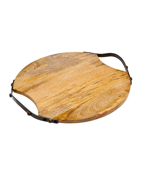Godinger Round Wood Handled Tray