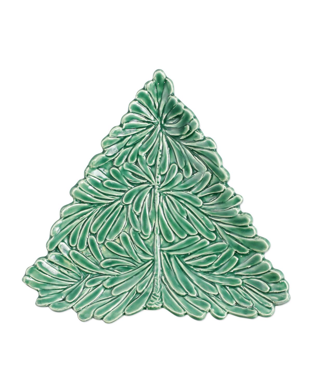 Vietri LASTRA HOLIDAY FIGURAL TREE SMALL PLATE
