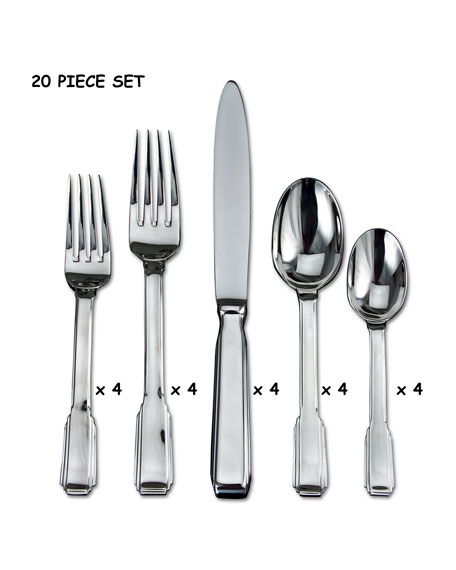 Ricci Silversmith 20-Piece Art Deco Flatware Set