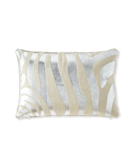 """Massoud Metallic Zebra Hair Hide Pillow, 23"""" x 15"""""""