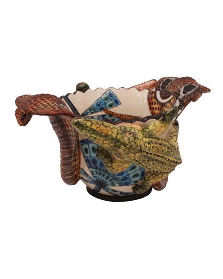 Ardmore Ceramic Art Snake Crocodile Nut Bowl