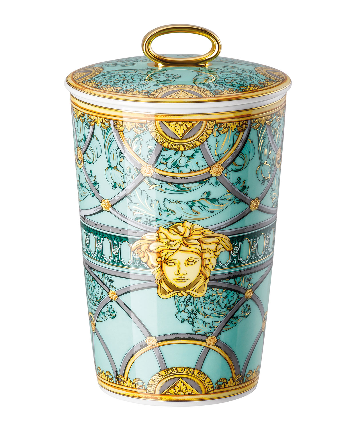 Versace Scala Palazzo Verde Porcelain Scented Votive In Blue