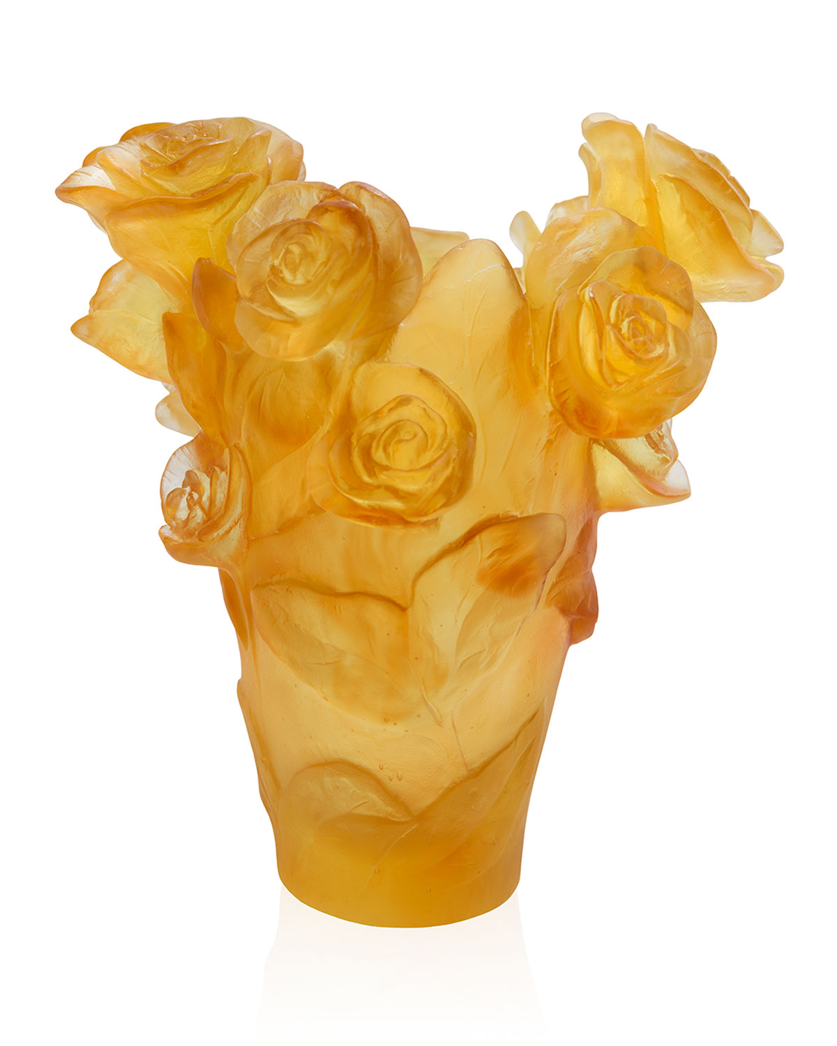 Daum YELLOW SMALL ROSE PASSION VASE