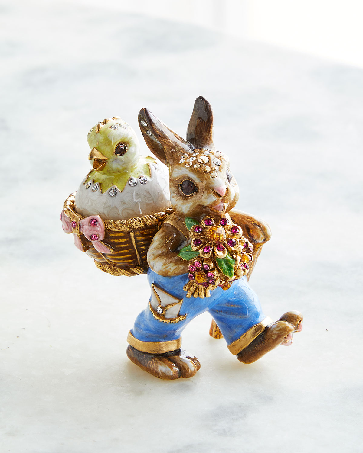 Jay Strongwater BUNNY AND BASKET BOX